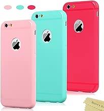 Mavis's Diary 3X Funda iPhone 6, iPhone 6s Carcasa Silicona Gel Mate Case Ultra Delgado TPU Goma Flexible Funda iPhone 6s - Rojo, Rosa Claro, Verde Menta