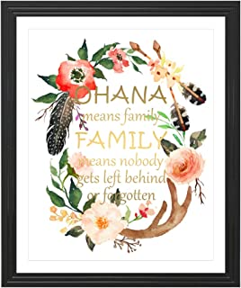 Eleville 8X10 Ohana Means Family Real Gold Foil and Floral Watercolor Art Print (Unframed) Lilo and Stitch Quote Nursery Wall Art Home Decor Motivational Birthday Wedding Christmas Gift WG101