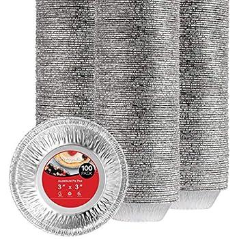 Stock Your Home 3 Inch Aluminum Foil Pie Pans  100 Count  - Disposable & Recyclable Mini Pie Pans - Foil Pie Tin for Bakeries Cafes Restaurants - Durable Mini Foil Pans for Pies Fruit Tarts Quiche