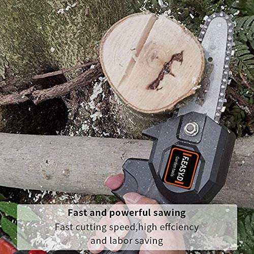 MKING Mini Chainsaw 4-Inch Cordless Power Chain Saws, Portable 26V Electric Chainsaw, Pruning Shears Chainsaw for Courtyard Tree Branch Wood Cutting -Black 26V+Spare Battery