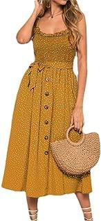 Mogogo Women's Polka Dot Lined Button Down Sling Over Waist A-line Maxi Dress