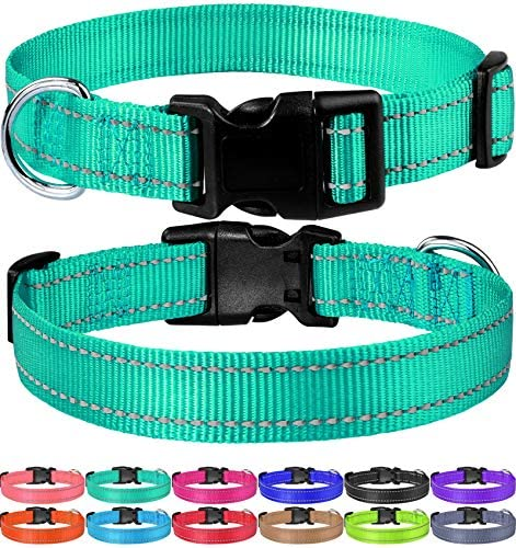 FunTags Reflective Nylon Dog Collar with Quick Release Buckle Adjustable Classic Solid Colors product image