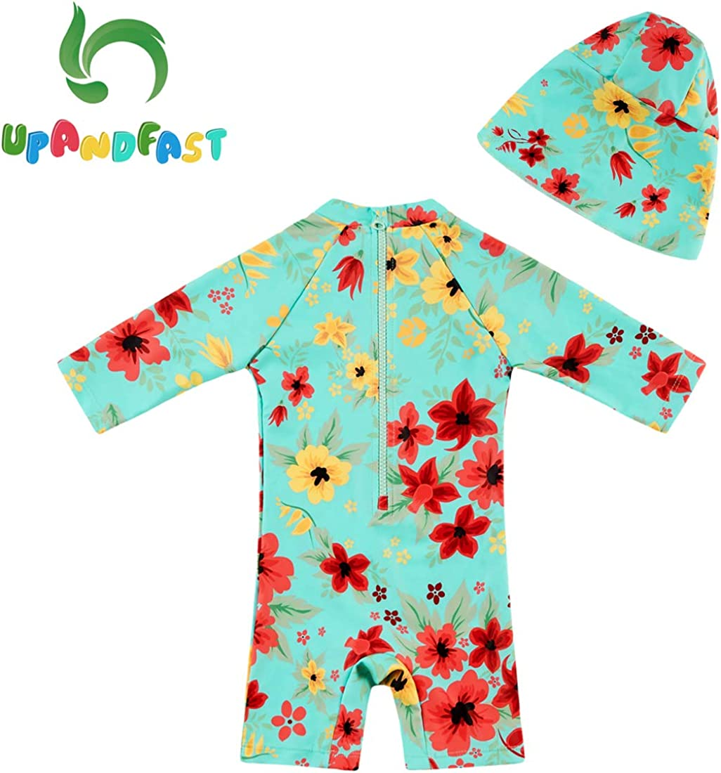 upandfast Baby//Toddler One Piece Zip Sunsuit with Sun Hat UPF 50 Sun Protection Baby Swimsuit