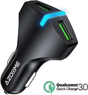 Quick Charge 3.0 USBカーチャージャー シガーソケット USB 車載充電器 AZDOME 36W 2ポート 急速充電 iPhone iPad Android スマホ タブレット 対応 iSmart出力自動判別あり