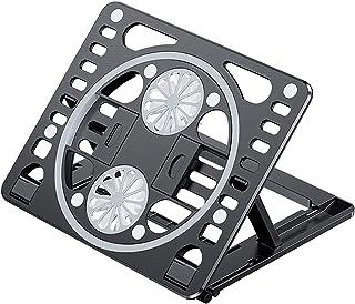 PANO-MOUNTSノートパソコン 冷却パッド 冷却台 ノートパソコン 冷却ファン 6段階高度調整 2つ静音冷却ファン 強冷 黒