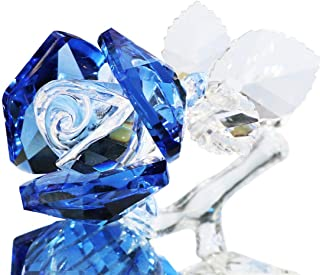 HDCRYSTALGIFT Crystal Rose Flower Paperweight Figurine Collectible Statue Wedding Table Centerpiece Ornament,Blue Rose