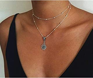 Mother's Day Gift Sterling Silver Sunflower with Pendant Necklace Jewelry for Women,Sunflower Pendant Multi-layer Necklace Female Wish Double-layer Necklace