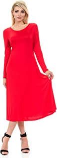 iconic luxe Women's Long Sleeve A-Line Midi Dress