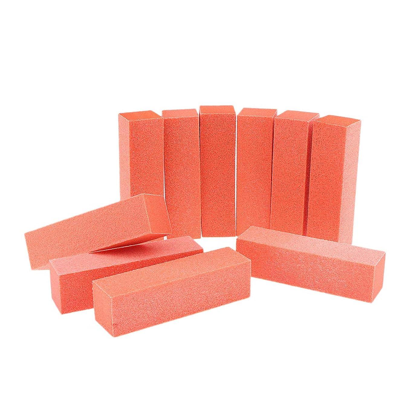 シュリンクアクティブ領収書10個 ネイルファイル ネイルアート バッファーファイル ブロック マニキュア 研磨 6色選べ - オレンジレッド