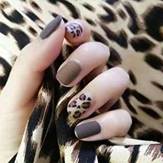 Olbye Matte Press on Nails Brown Short Fake Nails Square Head False Nails Full Cover Artificial Nails for Women and Girls ...