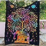 PPOU Mandala Decorativo Elefante Tapiz de Pared de Encaje Bohemio Manta de Pared Tela decoración del hogar Cortina Yoga Mat Fondo Pared A7 150x200cm