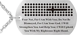 Lord's Prayer bible verse I Am Your God Military Stainless Steel cross Dog Tag Pendant Necklace