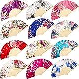 Chuangdi 12 Piezas de Mano Abanicos de Seda de bambú abanicos Flor Impresos abanicos de Mano Plegado abanicos de Baile para Regalo de Boda favores de la Fiesta (Patrón de Rosa)
