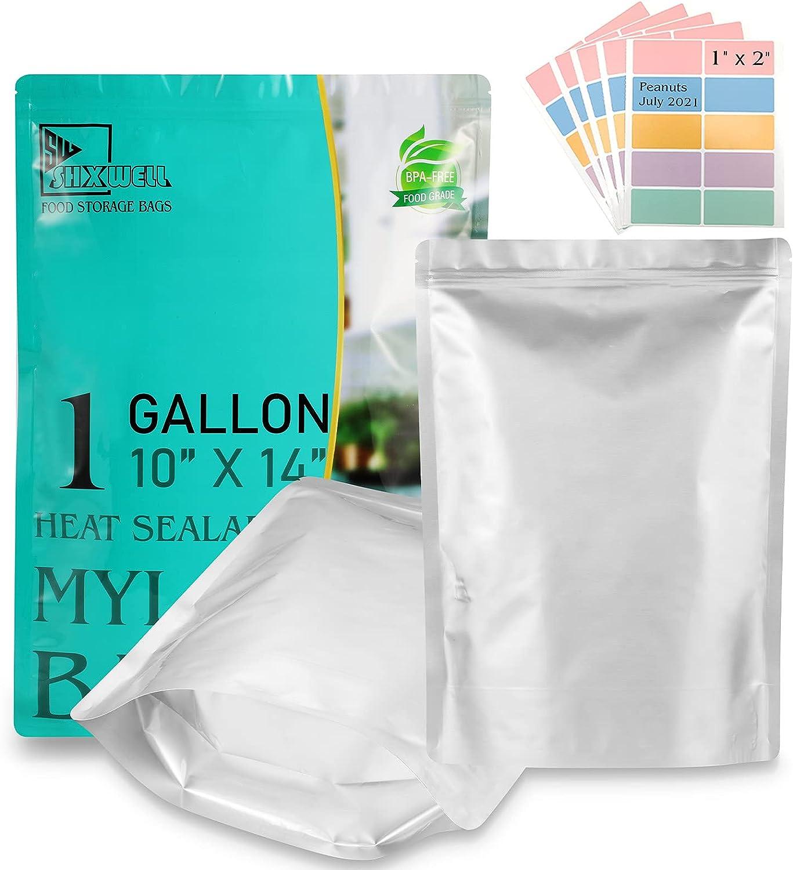 50 PCS Sacramento Mall Mylar Bags 1 Gallon Stand-Up Gorgeous Zipper Heat P Sealable