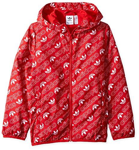adidas Originals Boys' Little Trefoil Monogram Windbreaker, collegiate red/white, S