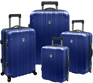 Travelers Choice New Luxembourg Hard-Shell Luggage Collection, Large, 4-Piece, Blue