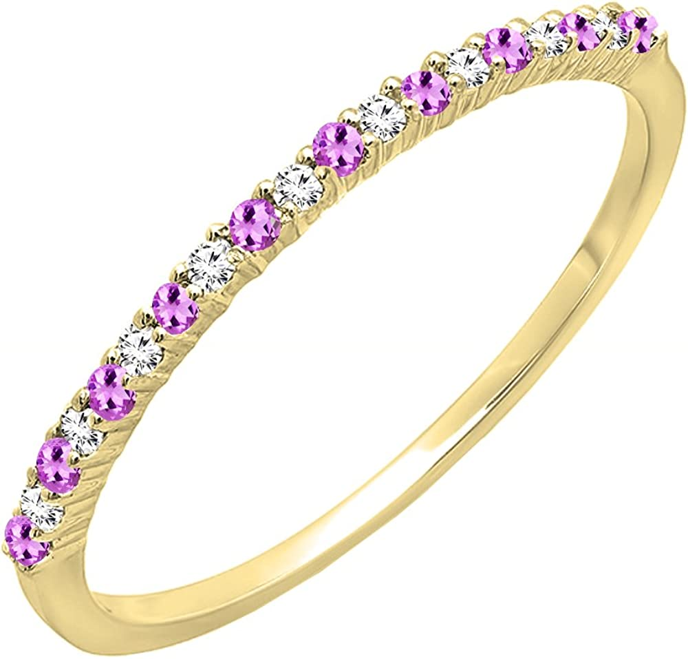Dazzlingrock Collection 18K Gold Round Amethyst & White Diamond Ladies Anniversary Stackable Wedding Band