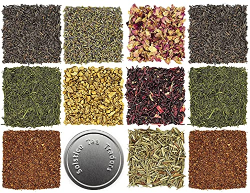 Loose Leaf Tea Sampler Gift Set Assortment — Create Your Own Tea Blend Starter Kit w/ Sencha, Rooibos, China Black, & Ginger, Lavender, Rose, Lemongrass, Hibiscus Spices Approx 75+ Cups