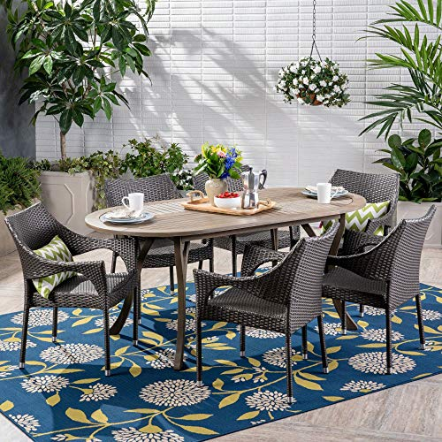 Contemporary Home Living 7-Piece Charcoal Gray Wicker Finish Oval Outdoor Furniture Patio Dining Set