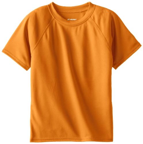 Kanu Surf Boys' Short Sleeve UPF 50+ Rashguard Swim Shirt, Solid Orange, Small (8)