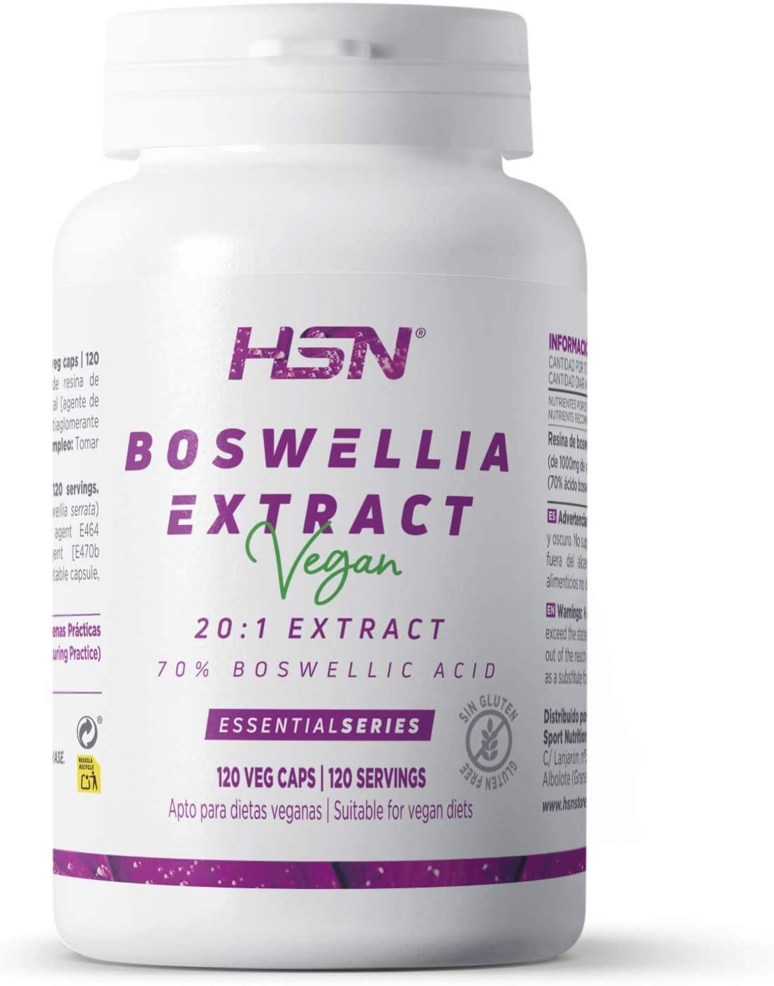 Boswellia Serrata de HSN | 500mg | Extracto 20:1 70% Estandarizado Ácido Boswélico | Suministro 2 Meses | Vegano, Sin Gluten, Sin Lactosa, 120 Cápsulas Vegetales