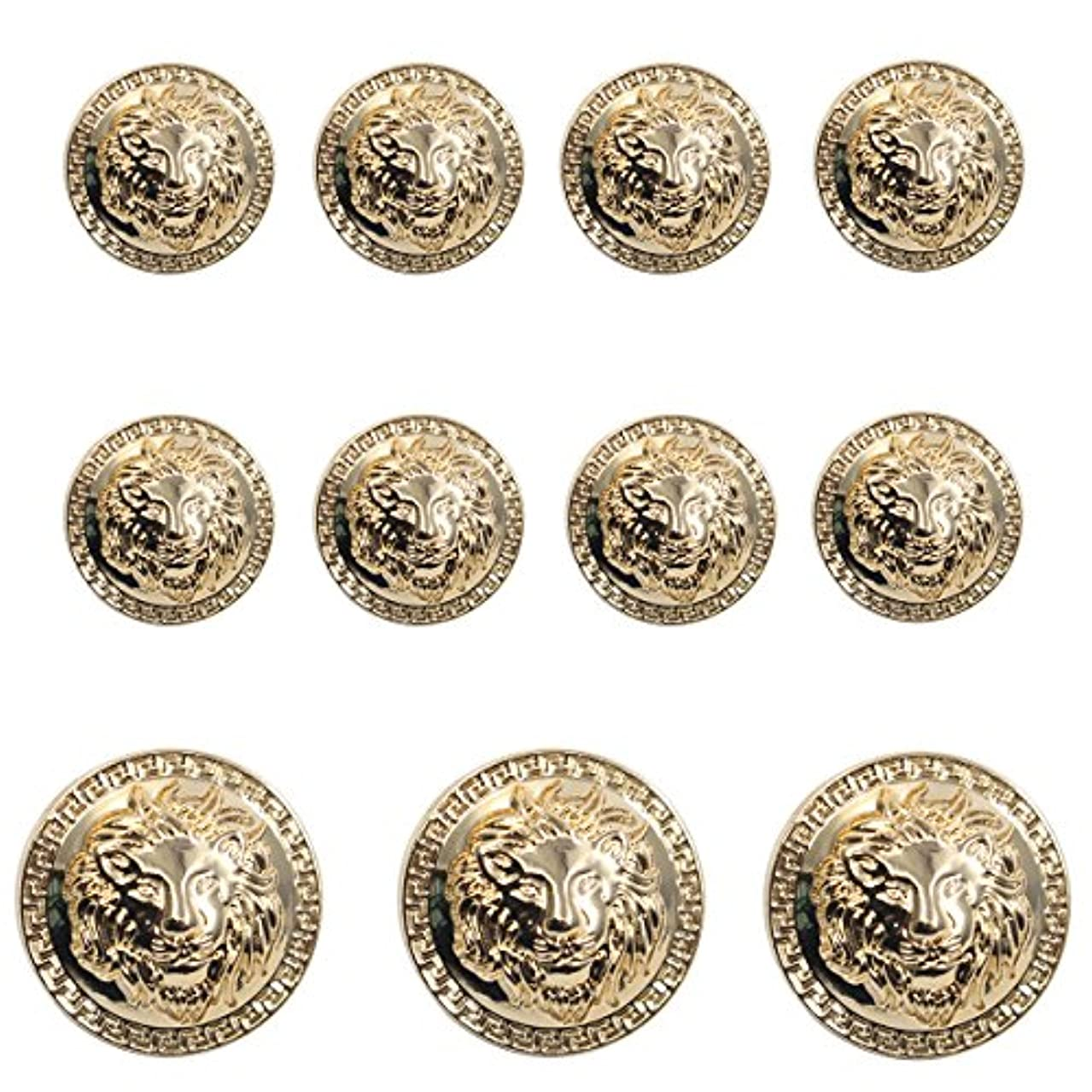 11 Pieces Gold Vintage Antique Metal Blazer Button Set - 3D Lion Head - for Blazer, Suits, Sport Coat, Uniform, Jacket