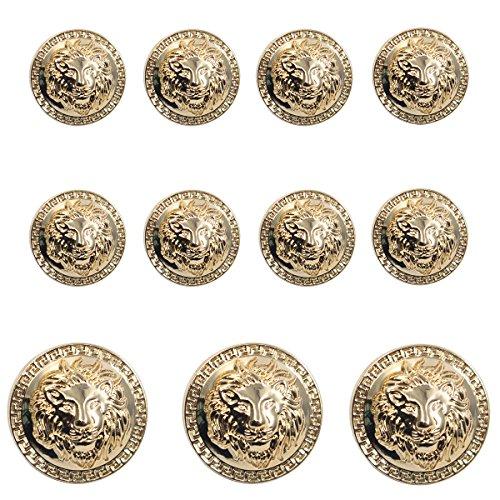 11 Pieces Gold Vintage Antique Metal Blazer Button Set - 3D Lion Head - for Blazer, Suits, Sport Coat, Uniform, Jacket
