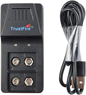 9V Battery Charger for 9v Lithium Li-ion Ni-MH Battery Rechargeable Batteries with USB Charging Cable by TrustFire 9VBC01