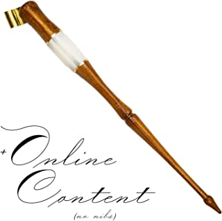 Wooden Calligraphy Oblique Nib Pen Holder with white horn, gold lining, extra comfortable grip, removable multi-fit brass flange Dip Pen with online content by Penmen United