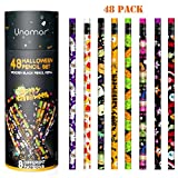 Unomor Halloween Pencils with Erasers for Kids Halloween Party Favors in 8 Different Designs, Pack of 48
