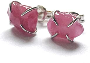 Natural Raw Ruby Stud Earrings - Pink Sapphire in Italian Sterling Silver - Hypoallergenic and Nickel Free Studs - July and September Birthstone Jewelry