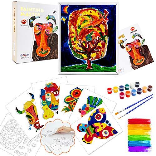 VATOS Bemalen Kinder Set Bastelset für Mädchen mit Pinseln, Malfarben und Stickern Geschenke Für Junge Mädchen Ab 4 5 6 7 8 9 Jahre