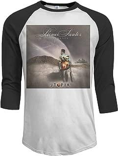 Utopia Romeo Santos Men's Casual Raglan Baseball T-Shirt 3/4 Sleeve Black
