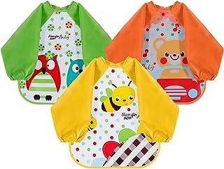 Lictin Set di 3 bavaglino a manica lunga bavaglino impermeabile EVA unisex per bambini piccoli da 6 mesi a 3 anni (orso, a...