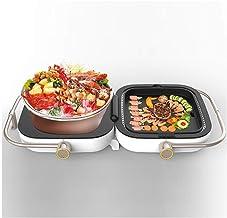 Opvouwbare Elektrische Grill En Bakplaat Met Gecoate Platen Met Antiaanbaklaag, Grill En Hete Pot 2 In 1 Draagbare Rookloz...