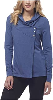 Women's French Terry Asymmetrical Yoga Wrap Jacket (Large (12-14), Blue Depths Heather)
