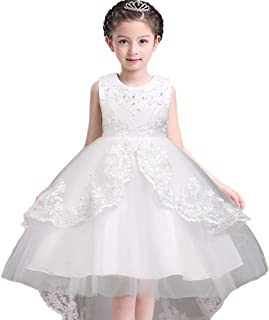 772073b1f5 MCERMR Kids Girls Wedding Party Dress High Low Prom Dresses Ball Gown  Flower Girls Dresses 3