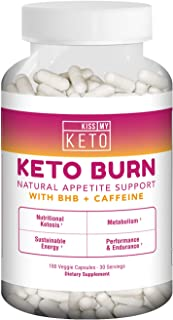Kiss My Keto Burn Appetite Suppressant BHB Keto Supplement + Caffeine — 180 Capsules | Curbs Carb Cravings Fast | Natural Ketogenic Formula with BHB & Caffeine (1 Month Supply)