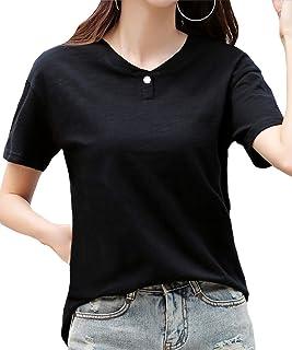 [サン ブローゼ] 飾りボタン Tシャツ スキッパー 半袖 シンプル デザイン 夏 レディース