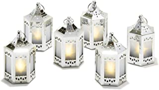 """6 Silver Mini Holographic Star Lanterns, 5"""", Warm White LEDs, Batteries Included"""