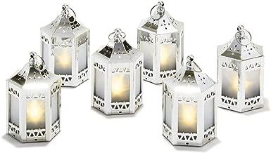 6 Silver Mini Holographic Star Lanterns, 5