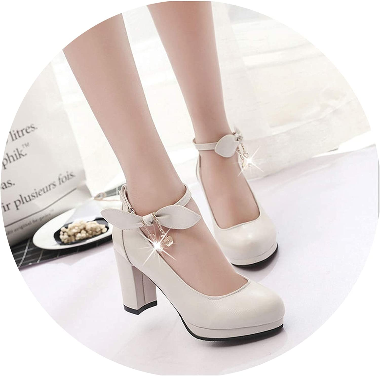 Women shoes Ladies High Heels White Wedding shoes Thick Heel Pumps Lady shoes