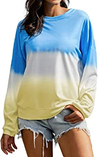 neveraway Womens O-Neck Casual Loose Color Block Winter Fall Tunic Sweatshirts Tops