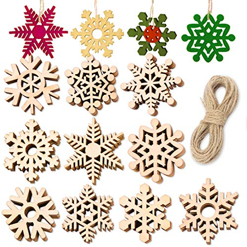 QUACOWW 50 Pieces Christmas Wooden Snowflake Ornaments Unfinished DIY Wood Snowflake Cutouts Christmas Tree Hanging Ornaments with Strings for DIY Christmas Decorations Crafts (2 Inch)