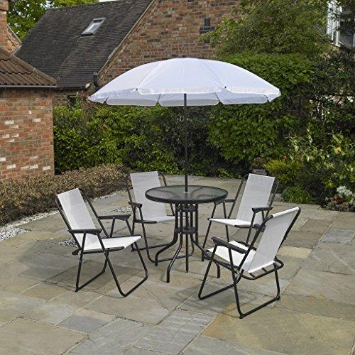 Kingfisher FS6PBC 6Pezzi Crema mobili da Giardino, Patio, INC. 4x sedie, Tavolo e ombrellone, Amp Nero