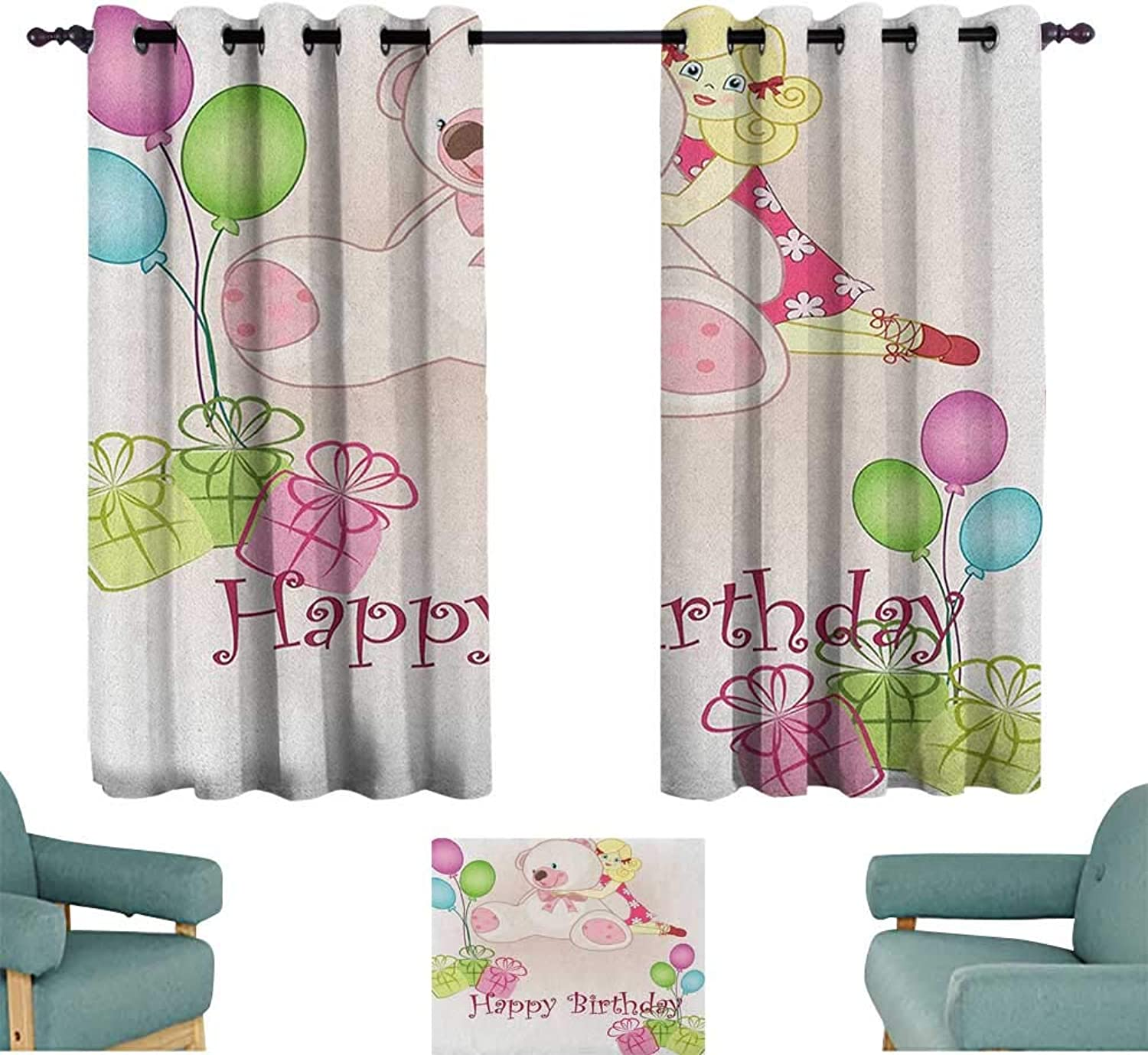 WinfreyDecor Kids Birthday Bedroom Windproof Curtain Baby Girl Birthday with Teddy Bears Toys Balloons Surprise Boxes Dolls Image Noise Reducing 55  Wx63 L Pale Pink