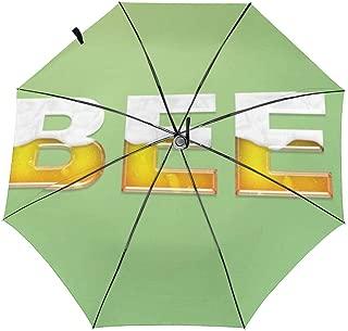 Gkf Travel Umbrella Shading and Windproof,Beer Logo Auto Open/Close Rain-Mate