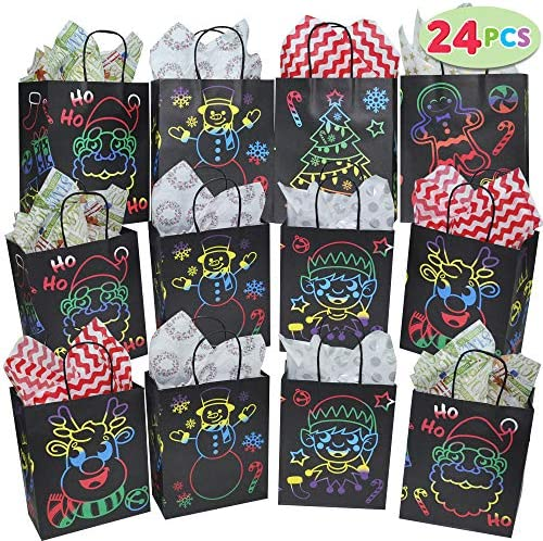 24 PCs Xmas Gift Bags for Holiday Classroom Party Favor Supplies Goodie Bags Christmas Bags product image