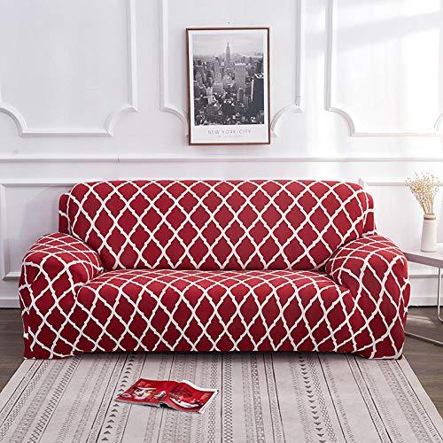 Soffskydd 1 2 3 4-sits mönster tryck röda vita ränder glid skydd soffa stretch elastisk polyester spandex möbelskydd skydd 4-sits: 235-300 cm