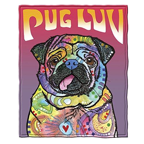 Dawhud Direct Dean Russo Pug Luv Super Soft Plush Fleece Throw Blanket
